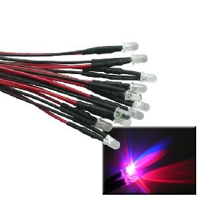 5mm Red Blue Flash LED Bulb Pre-Wired Light 20cm Lead Cable ...