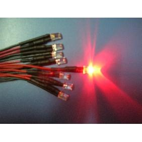 5mm Red Wide Angle Flat Top Led Pre Wired 12V DC