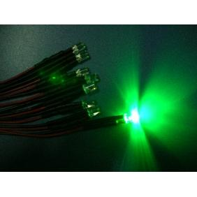 5mm Green Wide Angle Flat Top Led Pre Wired 12VDC